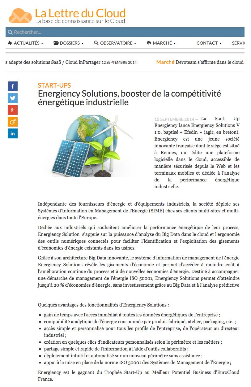 La lettre du cloud Energiency
