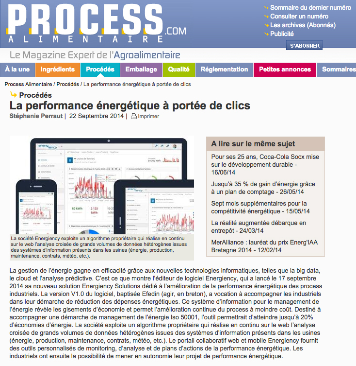 Process Alimentaire Energiency